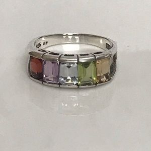 925 Emerald Cut Multi Gemstone Ring